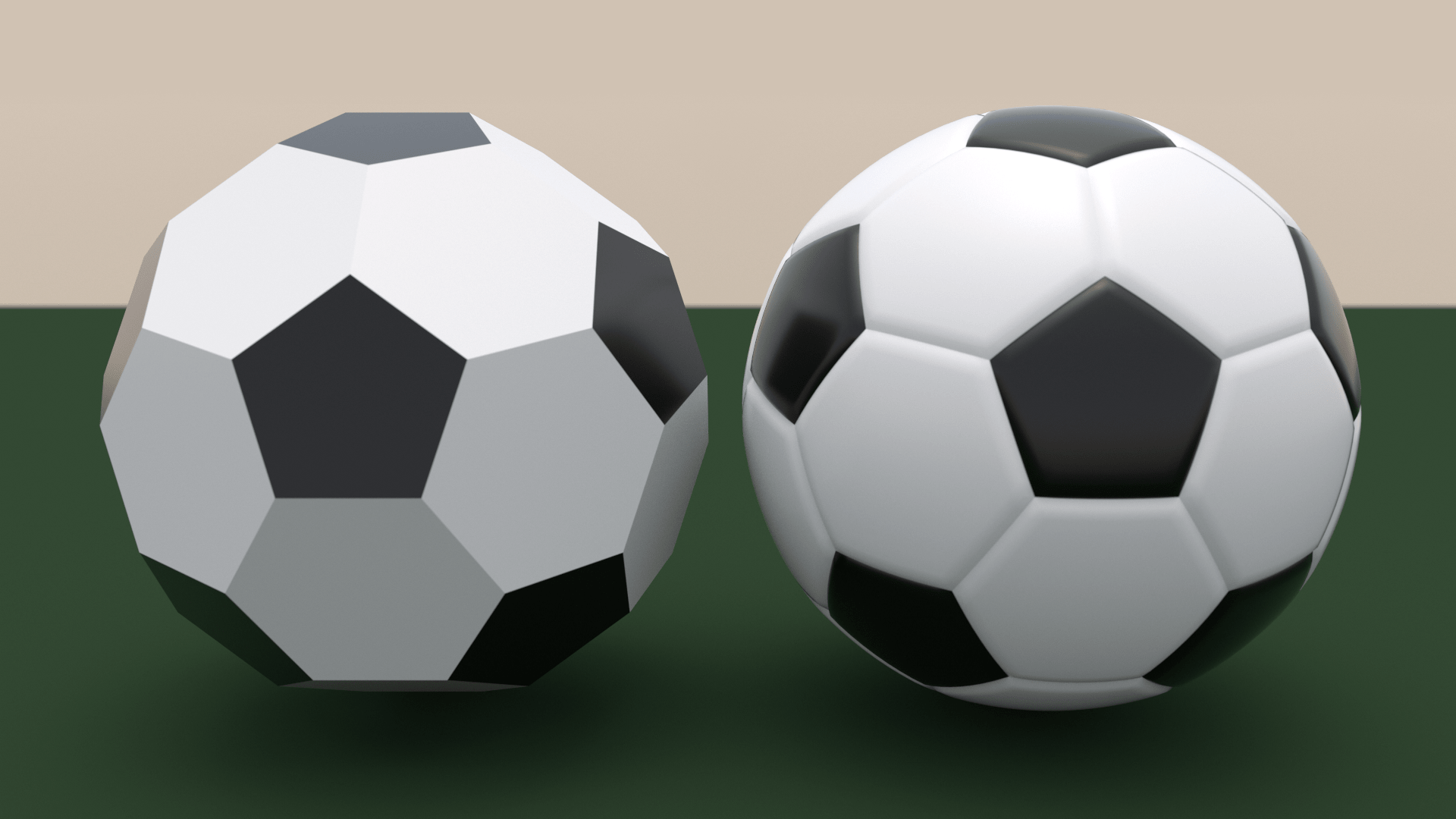 Comparison between a truncated icosahedron and a soccer ball