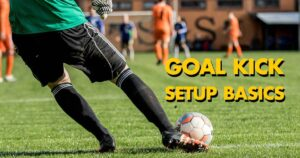 Soccer goalkeeper just about to shoot his goal kick